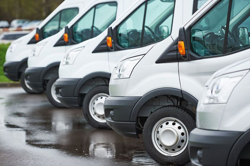 fleet of commercial vans