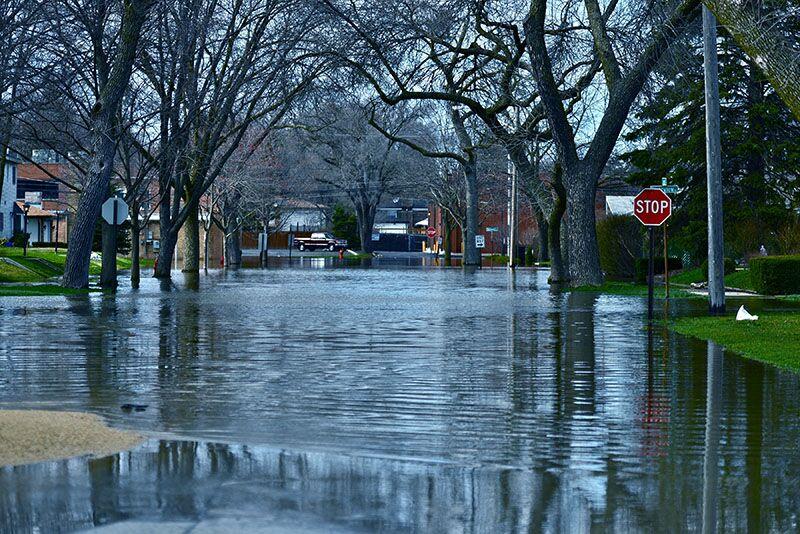 flooded residential street